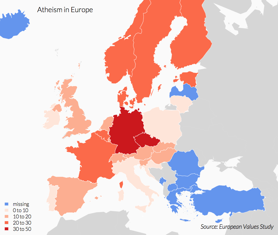 Choropleth Map of Europe at Country-Level