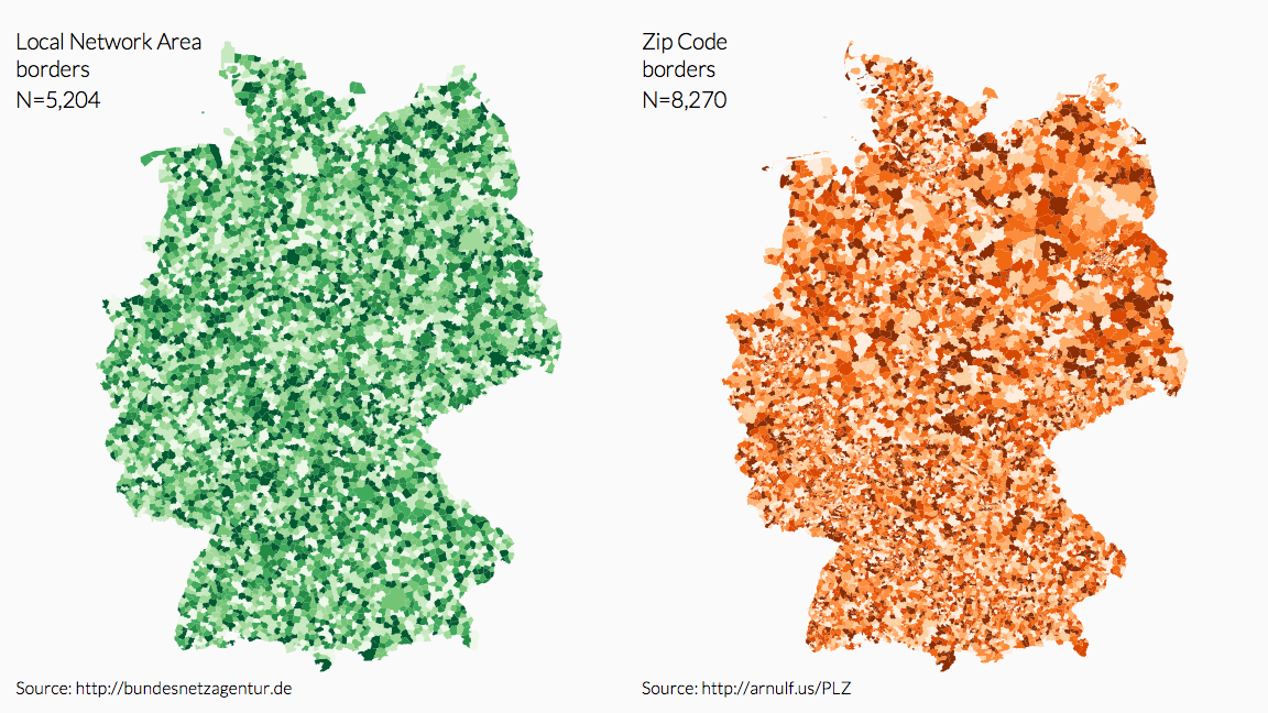 Maps of Germany: Local Telephone Areas and Postcode Districts